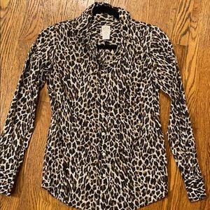 J.Crew size 0 'Perfect Shirt' Leopard Button Down